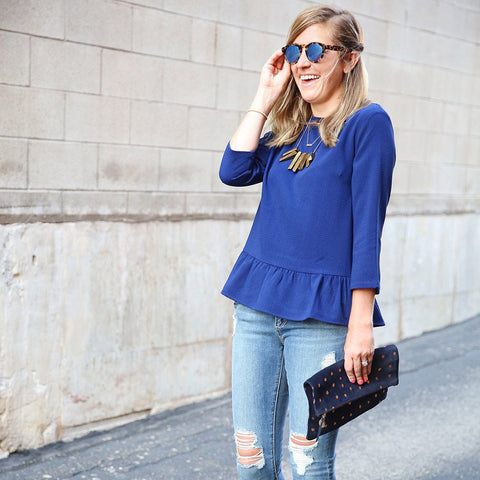 Poppy Peplum Top in Navy