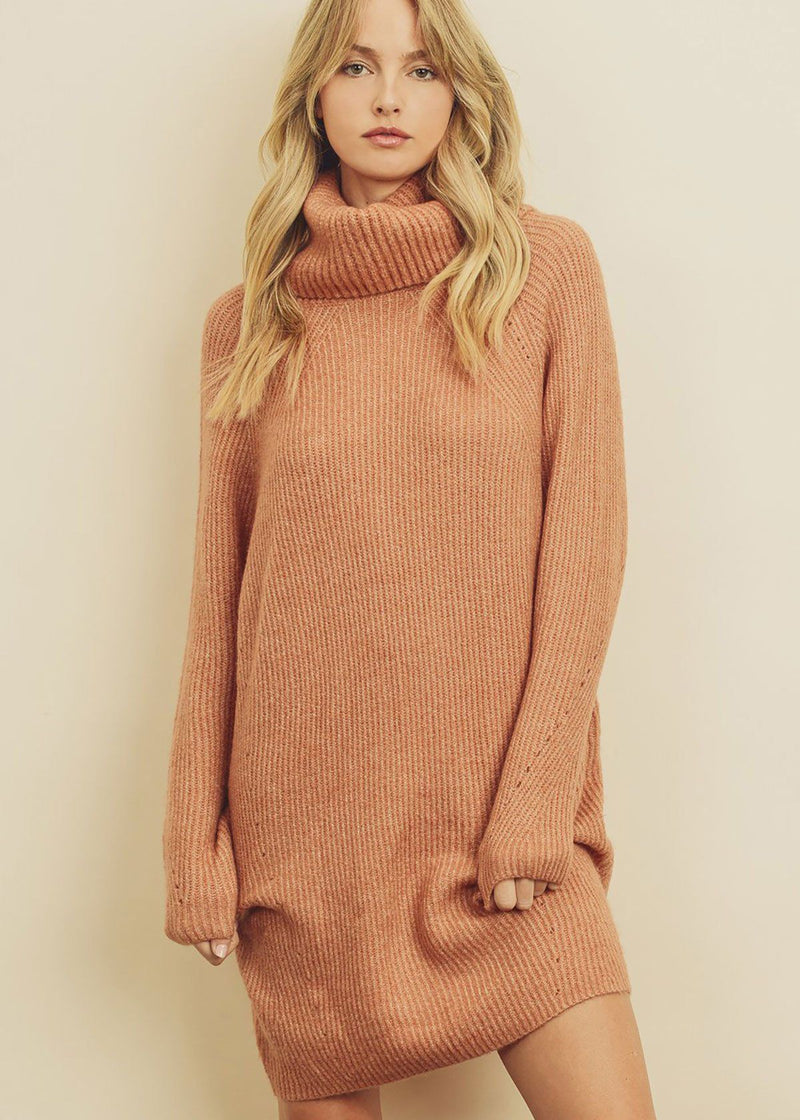 Ribbed Knit Turtleneck Dress - Clay
