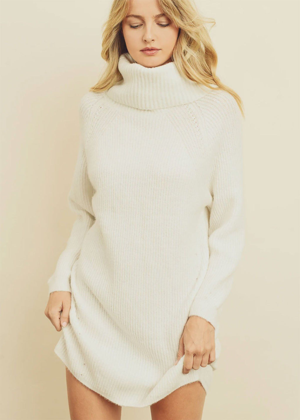Ribbed Knit Turtleneck Dress - White