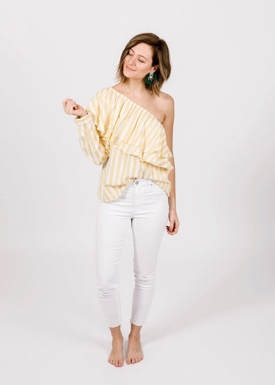 Richelle Stripe One Shoulder Top