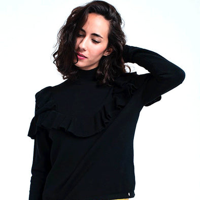 Riley Ruffle Turtleneck - Black