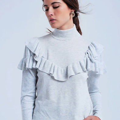 Riley Ruffle Turtleneck - Grey