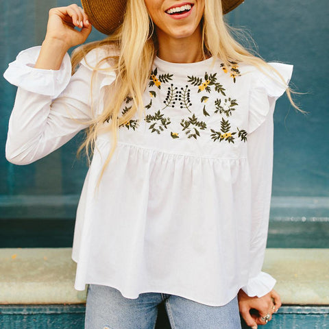 Sadie Ruffle Sleeve Top - White