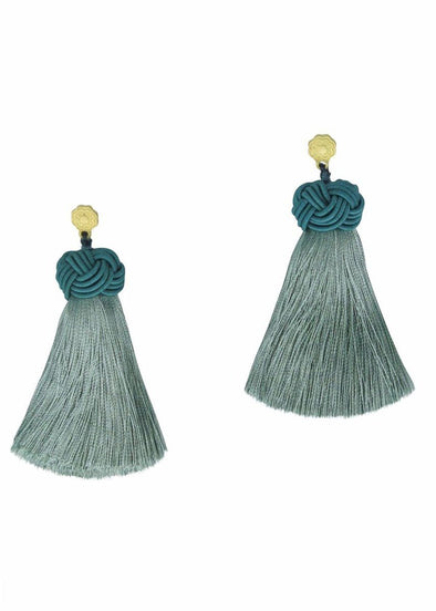 Topknot Tassel Earrings - Sage