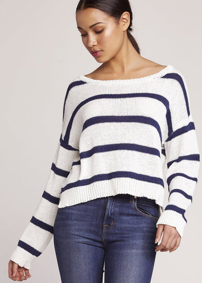 Sail Away Cropped Striped Sweater