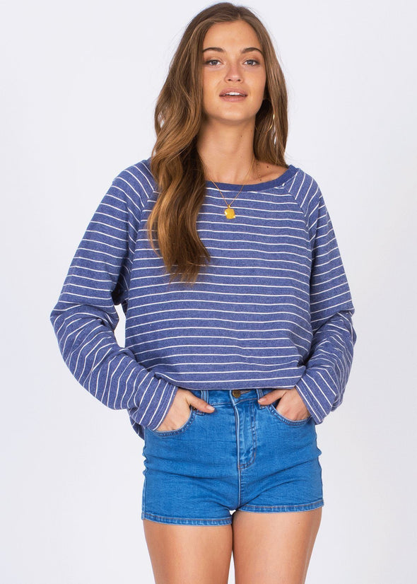 Salt Air Fleece - Navy Stripe