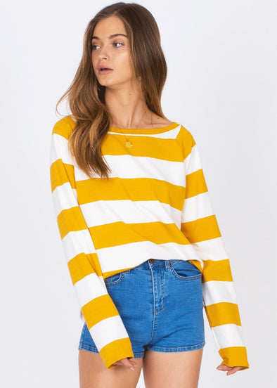 Salt Air Fleece - Yellow Stripe