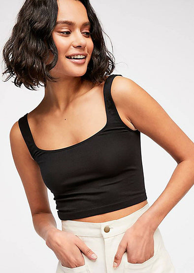 Scoop Neck Crop - Black