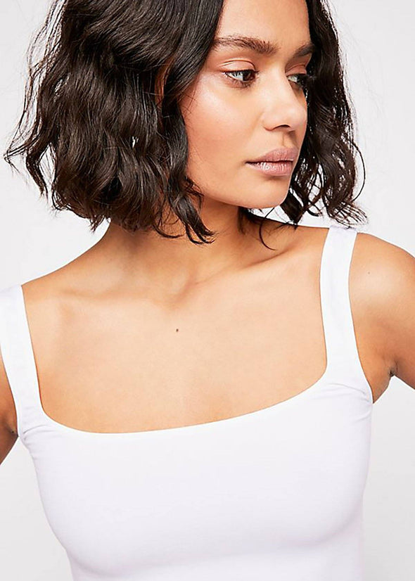 Scoop Neck Crop - White