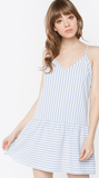 Playa Blue Stripe Peplum Dress
