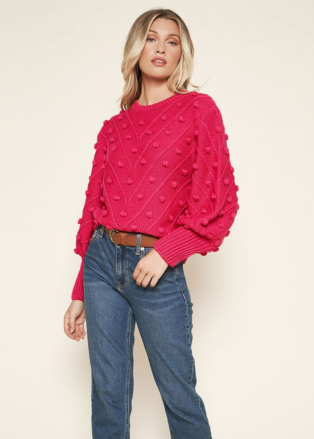 Shake Your Pom Pom Fuchsia Sweater