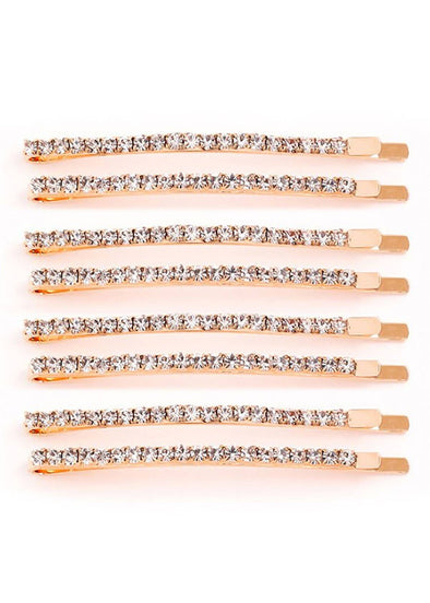 Rhinestone Studded Hair Pins - Set of 8