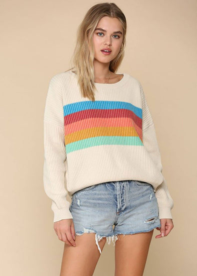 Sun Striped Ivory Sweater