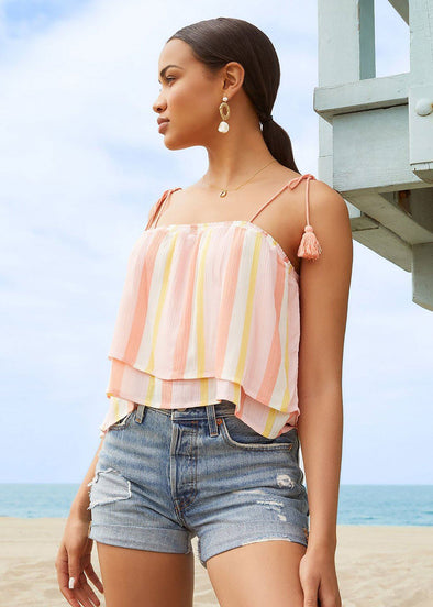 Tassels in The Sand Ruffle Top