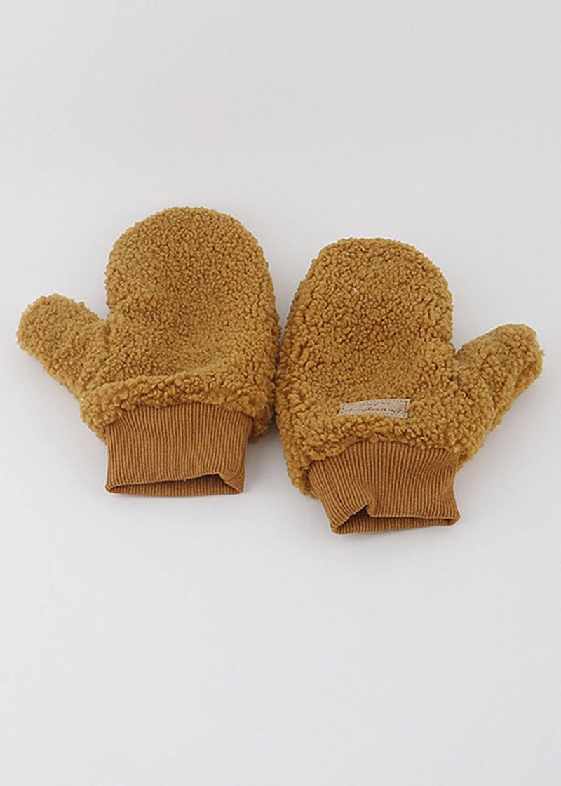 Teddy Fleece Lined Mittens - Mustard