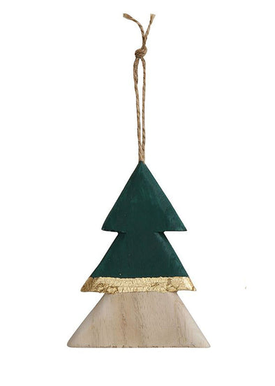 Wood Metallic Tree Ornie - Green