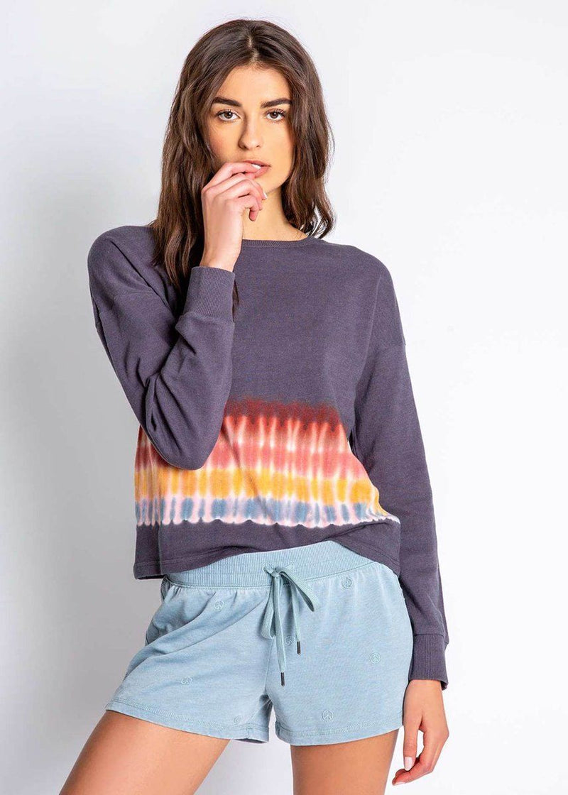 Groovy Kind Of Love Long Sleeve Top - Charcoal