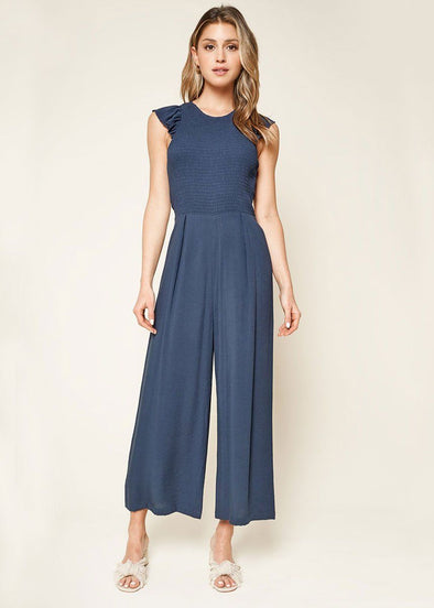 Adore Me Smocked Jumpsuit - Navy