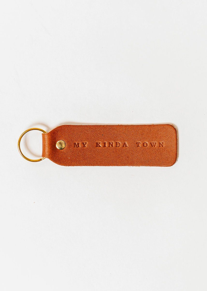 Hand Stamped Leather Keychain - My Kinda Town