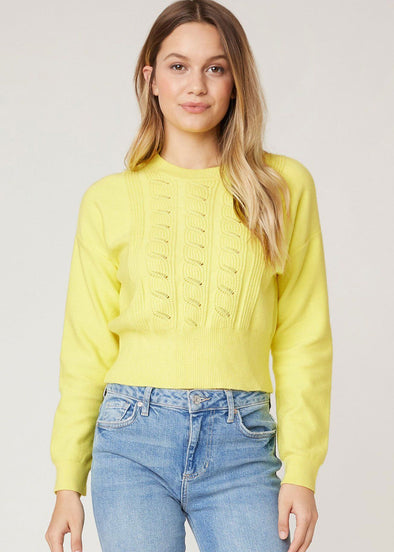 Waist The Day Cable Knit Sweater - Saffron