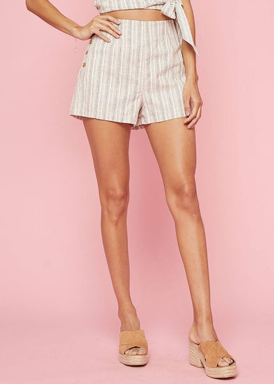 Wander Rainbow Stripe Button Short