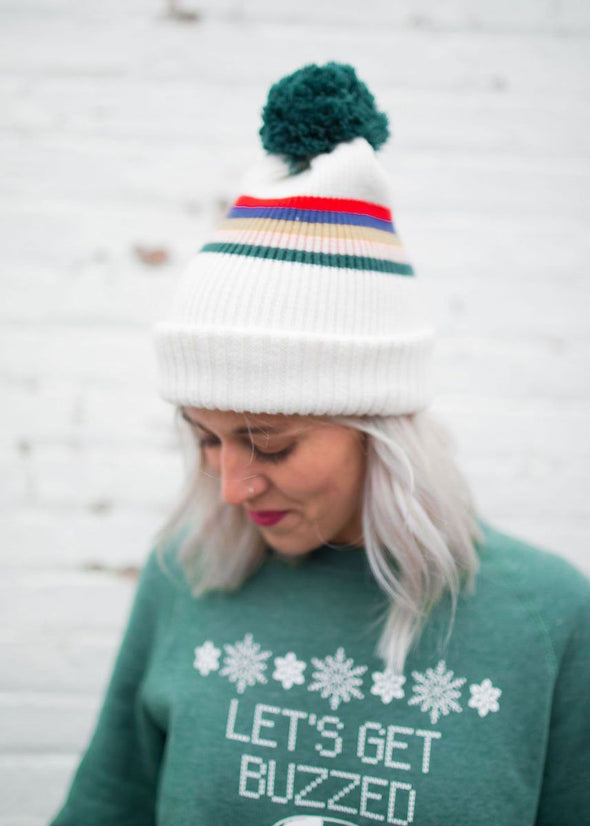 Mad Hatter Multi-Stripe Beanie - White