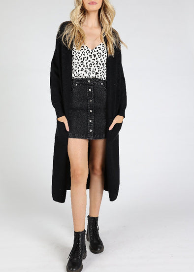 Wild Honey Duster Cardigan - Black