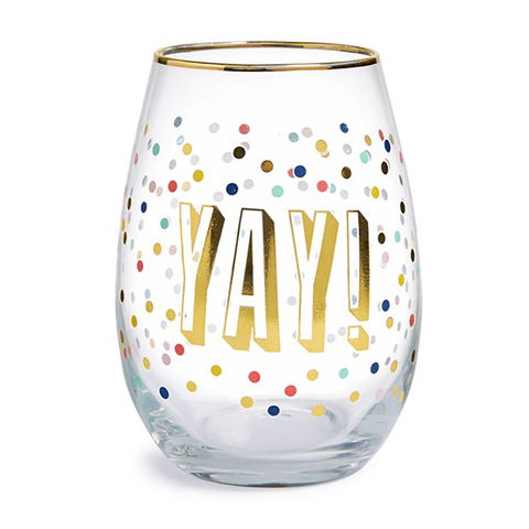Yay! Stemless Wine Glass