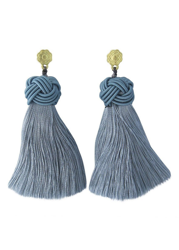 Topknot Tassel Earrings - Atlantic