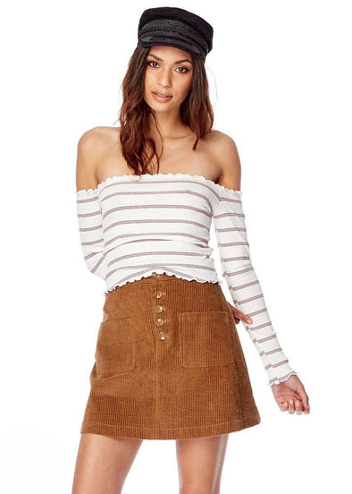 Aubry Stripe Off The Shoulder Top