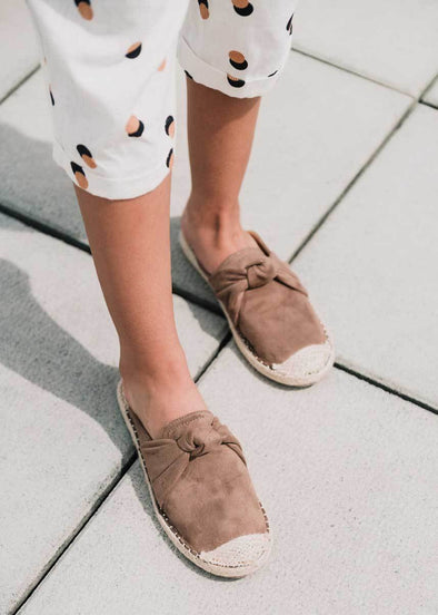 Karly Knot Espadrille Slides - Taupe
