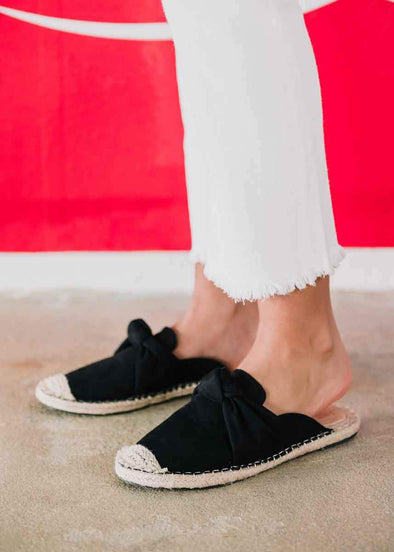 Karly Knot Espadrille Slides - Black