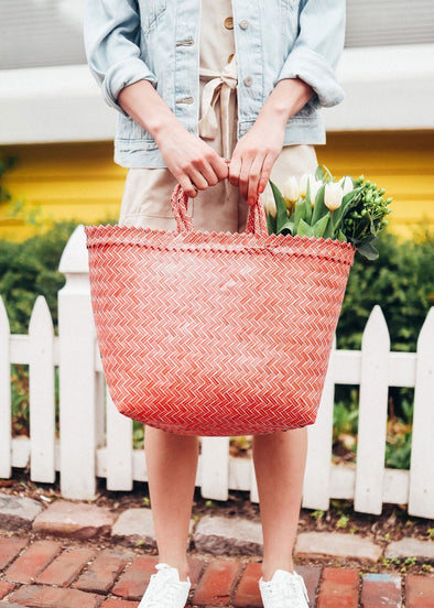 Malé Woven Staw Tote - Pink