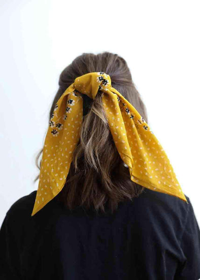 Dot and Floral Bandana - Black + Mustard