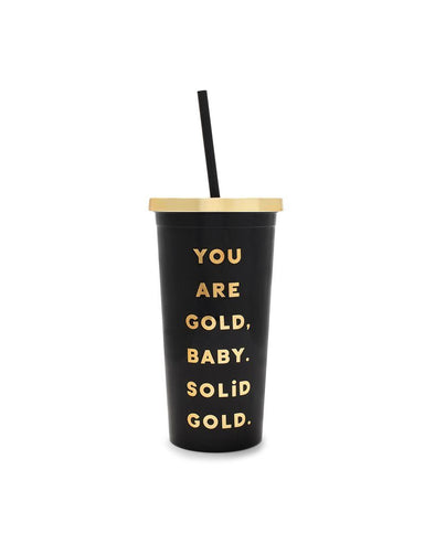 Deluxe Sip Sip Tumbler - Gold Baby, Solid Golid