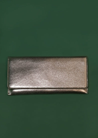 Metallic Foldover Wallet - Pewter