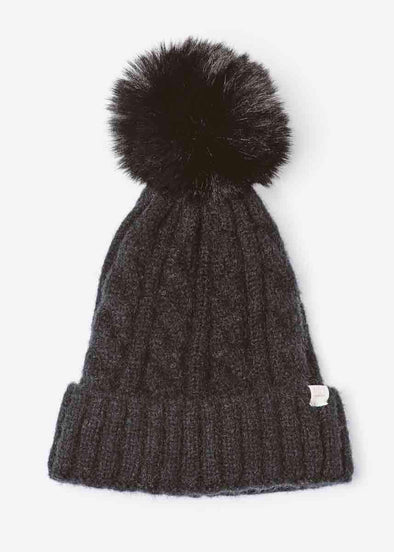Mad Hatter Cable Knit Beanie - Black