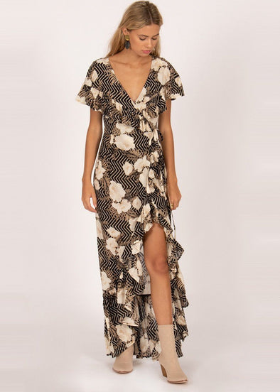 Frill Seeker Maxi Dress - Black Sands