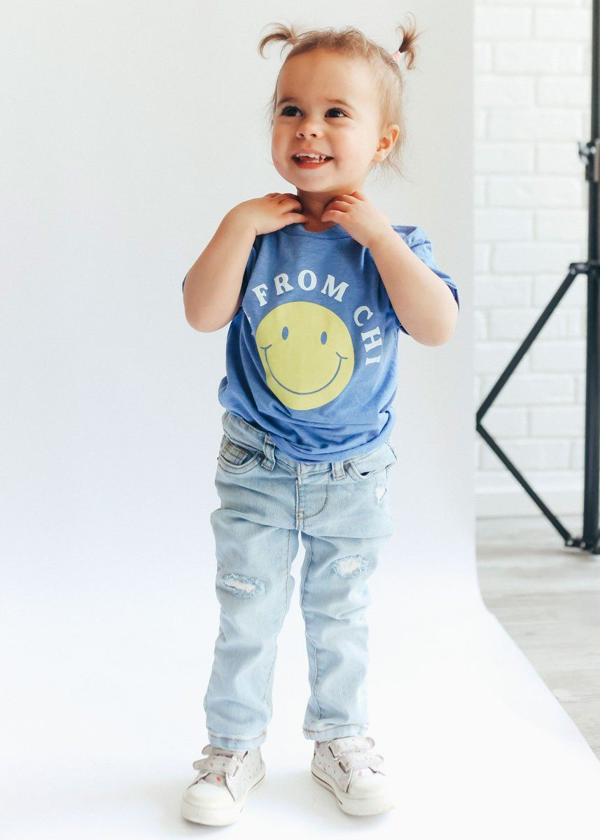 Hi from Chi Toddler Tee - Columbia Blue