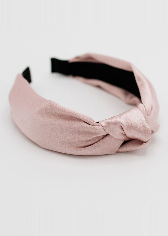 Silk Knotted Headband - Blush