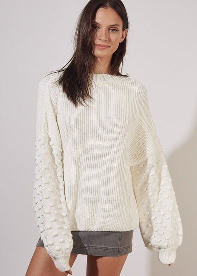 Ribbed Balloon Sleeve Sweater - Off White