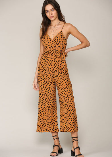 Camel Spotted Cropped Jumpsuit