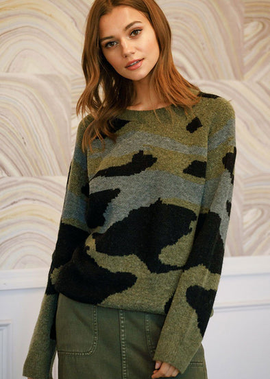 Oversized Camo Sweater