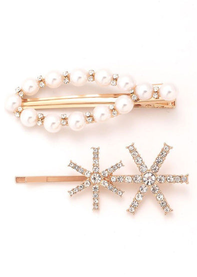 Pearl Studded Hair Pin Set - Gold