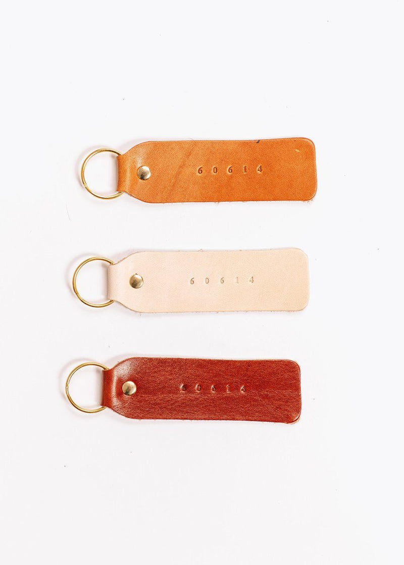 Hand Stamped Leather Keychain - 60614