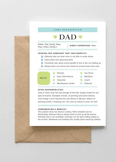 Dad Job Description Card