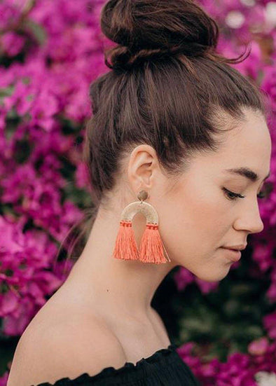 Decca Crescent Tassel Earrings