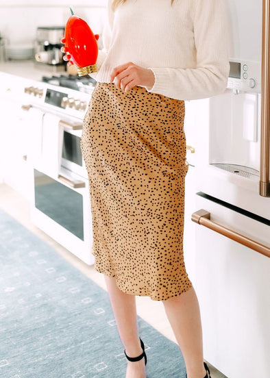Dotty Camel Midi Skirt