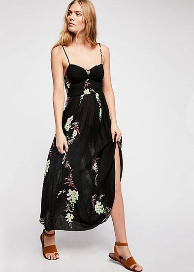 Beau Smocked Floral Dress - Black