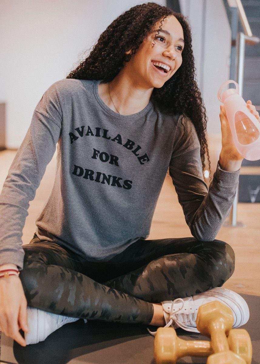 Available For Drinks Plush Sweatshirt